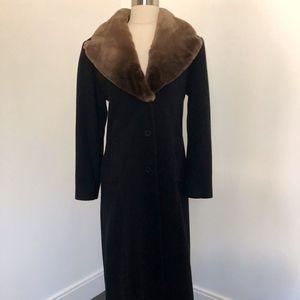 Isaac Mizrahi Black / Brown Wool & Sheared Beaver